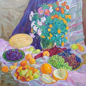Бархатцы и фрукты. 2021г. х.м. 120х120