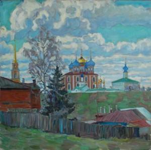 Весна, Рязанский кремль.2015г.Х.м.120х120,5