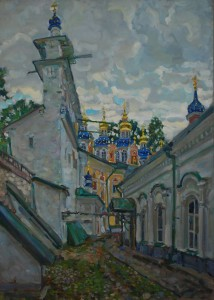Вид Псково - Печерского монастыря 2020 г. Х.м. 116х83