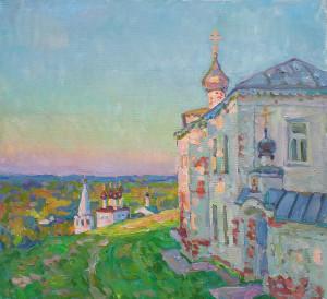 Вид у Свято-Никольского монастыря. 2021г., х.м., 55х60