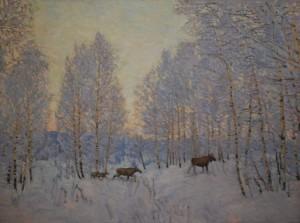 В зимнем лесу. 2018г Х.м. 95х127,5