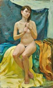 Женская сидящая обнажённая модель. 5 курс. 2012. Х.,м. 139,5х83,5