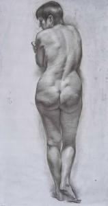 Женская стоящая обнажённая модель. 4 курс. 2011. Маст. ист-религ. жив. Б. тон., уг. кар.  99,5х53