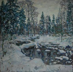 Зима, лесной ручей. 2019г. Х.м. 111х113