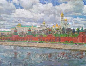 Лысенков И.А. Вид на Кремль с Москворецкого моста. 2021, х.м. 117х151,5