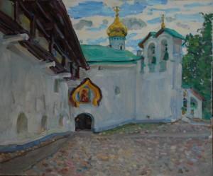 Малая звонница Псково-Печерского монастыря. 2020г. х.м. 50х60