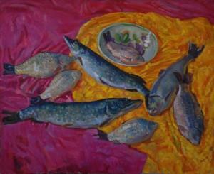 Натюрморт с рыбой. Х.м. 2017 г. 90х110