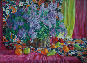 Натюрморт с сиренью и фруктами. 2019г. Х.м. 95х125