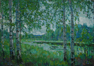 Озеро в лесу. 2019г. Х.м. 78,5х111,5
