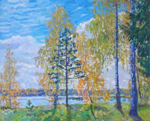 Осенью на озере. х.м., 2021г, 80х100