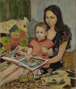 Портрет-жены-с-ребенком.Бумага,-акрил-пастель.2015г.120х103