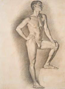 Рисунок Мужская обнаженная фигура.2012 100х85