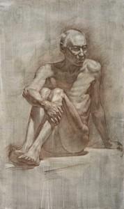 Рисунок мужской сидячей обнаженной натуры. 2013 120х95