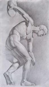 Рисунок статуи Дискобол. 4 курс. 2011. Маст. ист-религ. жив. Б. тон., гр. кар. 101,5х59,5