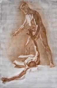 Рисунок. Двойная постановка. Соус карандаш.2013. 160х130