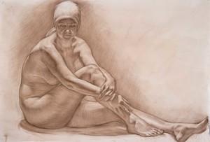 Сидящая женская обнажённая модель. 4 курс. 2011. Маст. ист-религ. жив. Б. тон., соус. 65х97