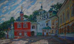 Успенская площадь Псково-Печерского монастыря. 2020г. Х.м. 72х112