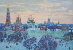 У стен Новодевичьего монастыря. 2021г. Х.м. 103,5х150