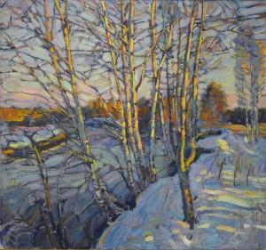 Зимняя речка. 2015г. Х.м. 115х122,5