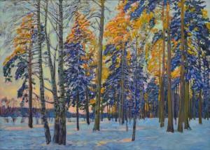 Утро в зимнем лесу. 2017 г. Х.м. 101х141,5